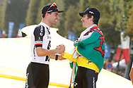 Podium, Tom Dumoulin (NED - Team Sunweb) 2nd and Geraint Thomas (GBR - Team Sky) Yellow Jersey during the 105th Tour de France 2018, Stage 21, Houilles - Paris Champs-Elysees (115 km) on July 29th, 2018 - Photo Luca Bettini / BettiniPhoto / ProSportsImages / DPPI