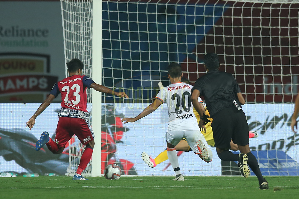 Michael Soosairaj of Jamshedpur FC hits goal during match 25 of the Hero Indian Super League 2018 ( ISL ) between Jamshedpur FC and FC Goa held at JRD Tata Sports Complex, Jamshedpur, India on the 1st November  2018<br /> <br /> Photo by: Deepak Malik /SPORTZPICS for ISL