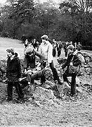 As part of their training scouts carry a 'wounded' comrade to safety at Scout Larch Hill, the CBSI scouting campsite at Tibradden in the Dublin Mountains.<br /> 03/03/1979