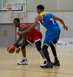 Fred Thomas of Bristol Flyers (L) and Jimario Rivers of Cheshire Phoenix in action - Photo mandatory by-line: Jack Phillips/JMP - 25/11/2018 - BASKETBALL - Ellesmere Port Arena - Ellesmere Port, England - Cheshire Phoenix v Bristol Flyers - {event}
