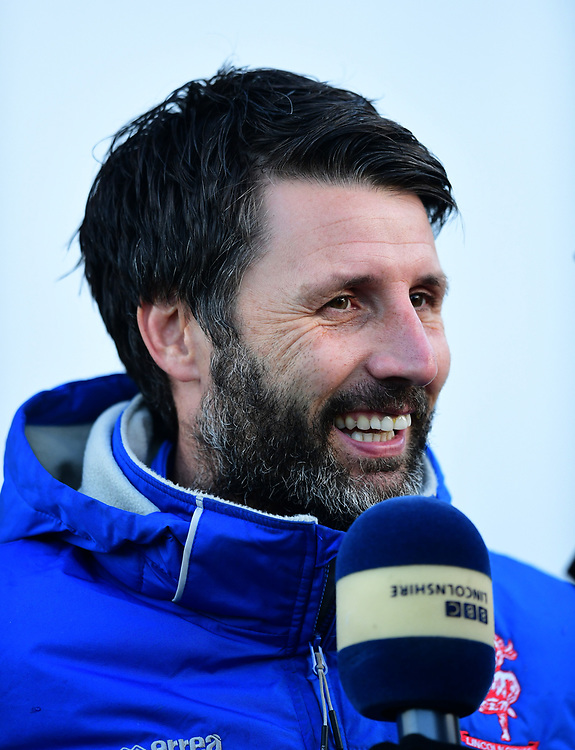 Lincoln City manager Danny Cowley during the pre-match warm-up<br /> <br /> Photographer Chris Vaughan/CameraSport<br /> <br /> The EFL Sky Bet League Two - Lincoln City v Stevenage - Tuesday 26th December 2017 - Sincil Bank - Lincoln<br /> <br /> World Copyright © 2017 CameraSport. All rights reserved. 43 Linden Ave. Countesthorpe. Leicester. England. LE8 5PG - Tel: +44 (0) 116 277 4147 - admin@camerasport.com - www.camerasport.com