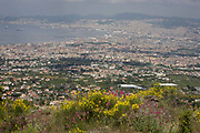 The Bay of Naples (population 3.7m) seen from the south-western slopes of the Vesuvius Volcano which last erupted in 1944. The national emergency plan to protect the inhabitants from a possible eruption of the Vesuvius area has as its baseline the explosive event of 1631. Drafted by the scientific community has identified three areas with different hazard defined: the red zone, yellow zone and the blue zone. The red zone is the area immediately surrounding the volcano, and is in greater danger as potentially subject to invasion by pyroclastic flows, or mixtures of gases and solids at high temperature which, sliding along the slopes of the volcano at high speed can destroy in a short time everything is on its way. Pyroclastic flows probably will not grow at 360 ° in the neighborhood of the volcano, but will head in one or more preferential directions