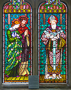 Stained glass window by Henry Holiday 1863 Shimpling church, Suffolk, England, UK Pre-Raphaelite artist - Presentation in the Temple