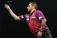 Jonny Clayton during the Unibet Premier League darts at Motorpoint Arena, Cardiff, Wales on 20 February 2020.