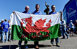 Supporters hold up an Australian Bluebirds flag outside the stadium before the Sky Bet Championship match at the Cardiff City Stadium.