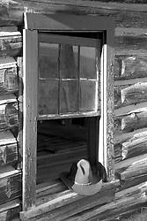 Cowboy hat, Bar B C Dude Ranch, derelict buildings, Black and White, Grand Teton Park