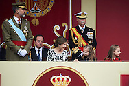 Queen Letizia of Spain, Crown Princess Leonor attended the National Day military parade on October 12, 2016 in Madrid, Spain.