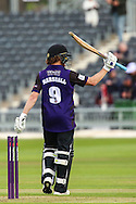 Hamish Marshall celebrates his 50 during the NatWest T20 Blast South Group match between Gloucestershire County Cricket Club and Middlesex County Cricket Club at the Bristol County Ground, Bristol, United Kingdom on 15 May 2015. Photo by Shane Healey.