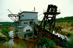 Alaska: Fairbanks.  Historic Gold Dredger #8. Photo akfair102..Photo copyright Lee Foster, 510/549-2202, lee@fostertravel.com, www.fostertravel.com