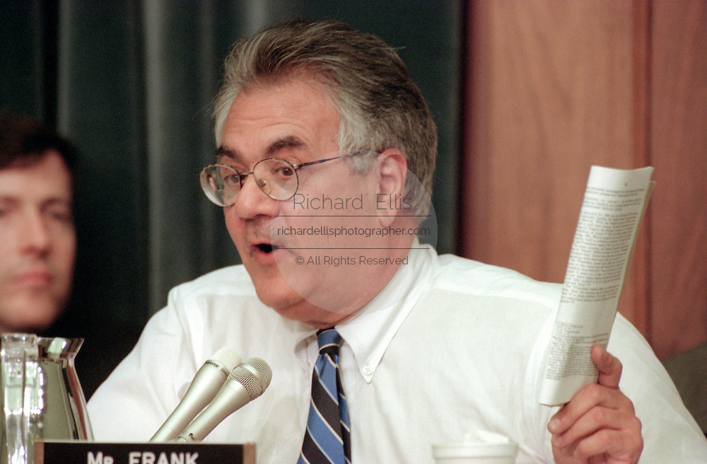 Democrat Rep. Barney Frank during House Judiciary Committee during hearings on whether impeachment proceedings should begin against President Bill Clinton October 5, 1998 in Washington, DC. This is only the third time in US history that impeachment proceedings against a President have been brought to the House committee.