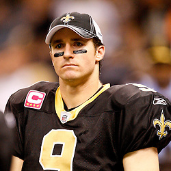 Oct 31, 2010; New Orleans, LA, USA; New Orleans Saints quarterback Drew Brees (9) on the sideline during a game against the Pittsburgh Steelers at the Louisiana Superdome. The Saints defeated the Steelers 20-10.  Mandatory Credit: Derick E. Hingle