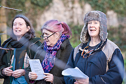 Young and old gathered this afternoon in Portobello's Community Orchard at Donkeyfield by Brunstane to sing some wassailing songs. The songs, a mixture of traditional and more modern, were originally song in orchards at this time of year to mark the start of the new year and encourage a good growing season. Members of Portobello's Community Choir, led by Jane Lewis, sang along with other locals and enjoyed drinks made from apples gathered in the orchard. © Jon Davey/ EEm