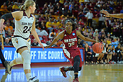 March 18, 2016; Tempe, Ariz;  New Mexico State Aggies guard Moriah Mack (35) tries to shake Arizona State Sun Devils forward Kelsey Moos (24) during a game between No. 2 Arizona State Sun Devils and No. 15 New Mexico State Aggies in the first round of the 2016 NCAA Division I Women's Basketball Championship in Tempe, Ariz. The Sun Devils defeated the Aggies 74-52.