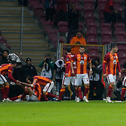 Galatasaray's Selcuk Inan (2ndL) celebrate his goal with team mate during their Turkish Super League soccer match Galatasaray between Istanbul Basaksehir at the AliSamiYen Spor Kompleksi TT Arena at Seyrantepe in Istanbul Turkey on Saturday, 14 March 2015. Photo by Aykut AKICI/TURKPIX