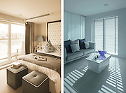 A show apartment in the Chelsea Creek development, part of Chelsea Habour in South West London.  Pic shows view of the lounge with a blue wash