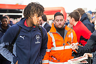 Alex Iwobi (Arsenal) arriving at the stadium ahead of the Premier League match between Bournemouth and Arsenal at the Vitality Stadium, Bournemouth, England on 25 November 2018.