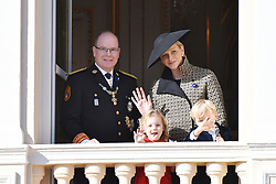 Princess Charlene and Prince Albert II of Monaco with their children Prince Jacques and Princess Gabriella on the balcony of Prince's Palace, following the Monaco National Day Celebrations in Monaco, on November 19, 2018. Photo by Laurent Zabulon/ABACAPRESS.COM