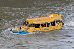 © Licensed to London News Pictures. 17/09/2017. LONDON, UK.  A flotilla of yellow London Duck Tours amphibious vehicles takes place on the River Thames to mark their final journey in London. The iconic London tourist  attraction ceases operating today after reportedly losing access to the slipway on the Albert Embankment because of Thames Water supersewer construction works. The amphibious Ducks played a vital role in the second World War and were originally used to carry supplies from ships to points on land, saving time and lives..  Photo credit: Vickie Flores/LNP
