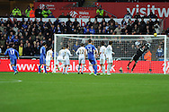 Chelsea's Eden Hazard (17) has a  free-kick saved by Swansea keeper Gerhard Tremmel. . Barclays Premier league, Swansea city v Chelsea at the Liberty Stadium in Swansea, Swansea, South Wales on Saturday 3rd November 2012. pic by Andrew Orchard, Andrew Orchard sports photography,