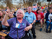 """16 APRIL 2019 - DES MOINES, IOWA: Supporters of Mayor Pete Buttigieg, the mayor of South Bend, Indiana, try to shutdown homophobic hecklers who tried to disrupt Buttigieg's rally. """"Mayor Pete,"""" as he goes by, declared his candidacy to be the Democratic nominee for the US Presidency on April 14. About 1,000 people attended his first rally in Iowa since officially declaring his candidacy. Iowa traditionally hosts the the first selection event of the presidential election cycle. The Iowa Caucuses will be on Feb. 3, 2020.                PHOTO BY JACK KURTZ"""