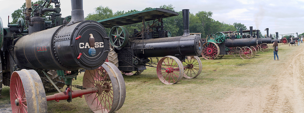 Antique steam tractors are on display the Rock River Thresheree near Edgerton, Wisconsin. 2 Sept 2013