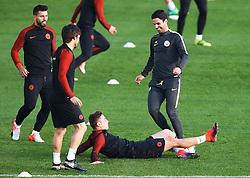 Pablo Maffeo of Manchester City slide tackles coach Mikel Arteta - Mandatory by-line: Matt McNulty/JMP - 31/10/2016 - FOOTBALL - City Football Academy - Manchester, England - Manchester City v Barcelona - UEFA Champions League - Group C