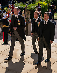 The Duke of Cambridge, The Duke of Sussex and Peter Phillips walk up the West Steps outside St George's Chapel, Windsor Castle, Berkshire, ahead of the funeral of the Duke of Edinburgh. Picture date: Saturday April 17, 2021.