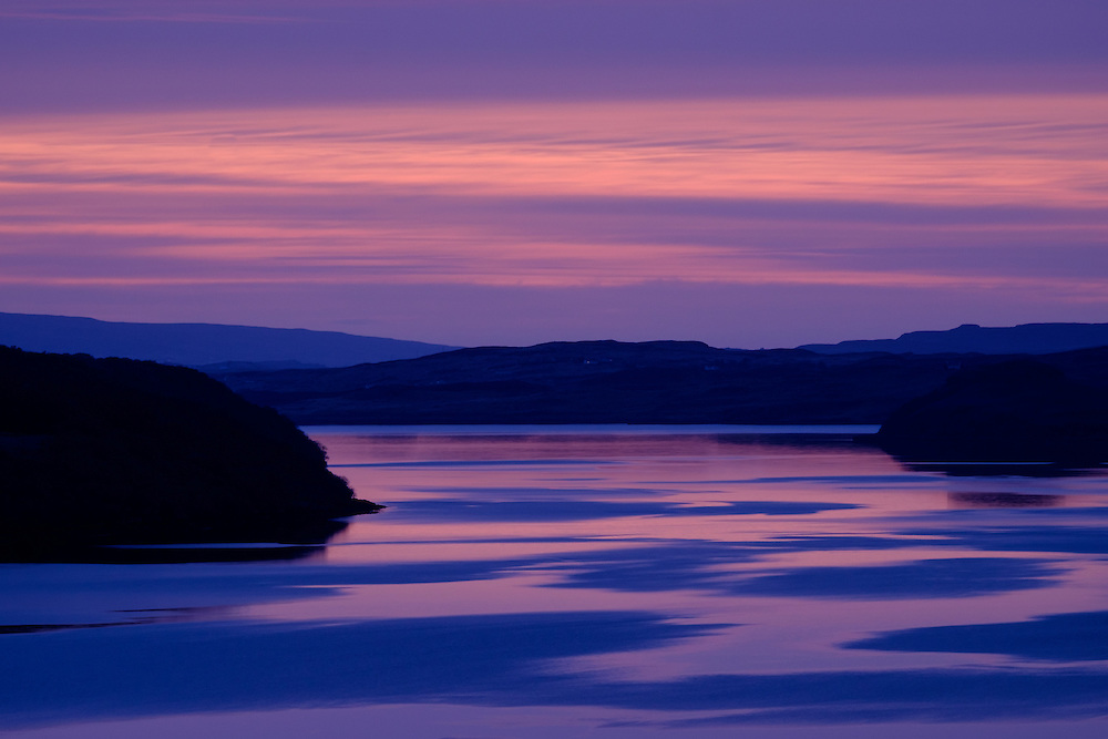 SCOTLAND - CIRCA APRIL 2016: Sunset over Loch Harport near Carbost in Skye an Island in Scotland