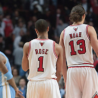 08 November 2010: Chicago Bulls' center #13 Joakim Noah is seen next to Chicago Bulls' point guard #1 Derrick Rose during the Chicago Bulls 94-92 victory over the Denver Nuggets at the United Center, in Chicago, Illinois, USA.