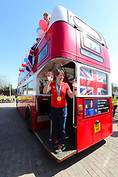 Lizzy Yarnold in Swanley during the victory bus tour through Sevenoaks, Kent. PRESS ASSOCIATION Photo. Picture date: Wednesday April 18, 2018. Yarnold became the first Briton - and the first skeleton athlete - to win successive Winter Games gold medals. Photo credit should read: Gareth Fuller/PA Wire
