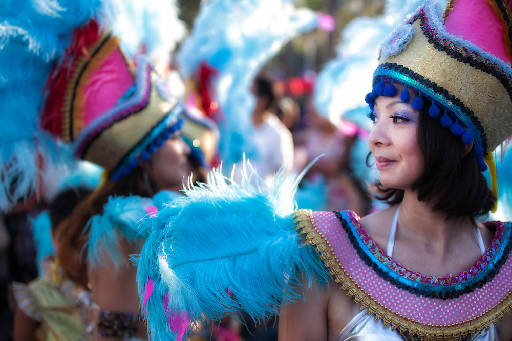 Feathers and costumes at the Dream Parade.