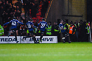 Peter Clarke of Oldham Athletic (26) scores a goal and celebrates to make the score 1-1 during the The FA Cup fourth round match between Doncaster Rovers and Oldham Athletic at the Keepmoat Stadium, Doncaster, England on 26 January 2019.