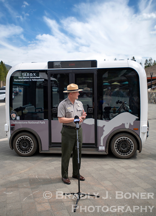 Yellowstone National Park superintendent Cam Sholly introduces the automated electric shuttles Tuesday the park will be at Canyon Village this summer as one of several strategies to try to alleviate peak-season crowding in the most congested areas.
