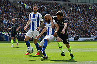 BRIGHTON, ENGLAND - MAY 12:    Bruno Saltor (2) of Brighton and Hove Albion battles for possession with David Silva (21) of Manchester City during the Premier League match between Brighton & Hove Albion and Manchester City at American Express Community Stadium on May 12, 2019 in Brighton, United Kingdom. (MB Media)