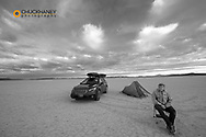Camping on the Alvord Desert playa in Harney County, Oregon, USA
