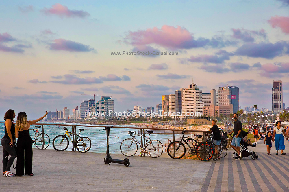 Tel Aviv coastline as seen from South at sunset