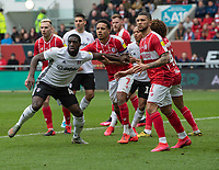 Fulham's Aboubakar Kamara (left) vies for position with Bristol City's Korey Smith (centre) as they waiting to receive a corner<br /> <br /> Photographer David Horton/CameraSport<br /> <br /> The EFL Sky Bet Championship - Bristol City v Fulham - Saturday 7th March 2020 - Ashton Gate Stadium - Bristol<br /> <br /> World Copyright © 2020 CameraSport. All rights reserved. 43 Linden Ave. Countesthorpe. Leicester. England. LE8 5PG - Tel: +44 (0) 116 277 4147 - admin@camerasport.com - www.camerasport.com