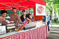 Pine State Biscuits in Portland, OR at the Saturday Farmers' Market in the South Park Blocks in Portland State University's Campus.
