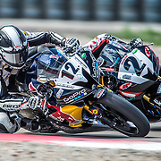 August 4, 2013 - Tooele, UT - Joe Roberts passes Tomas Puerta on the outside to take the win in SuperSport Race 2 at Miller Motorsports Park.