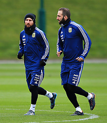 Argentina's Lionel Messi and Gonzalo Higuain - Mandatory by-line: Matt McNulty/JMP - 21/03/2018 - FOOTBALL - Argentina - Training session ahead of international against Italy