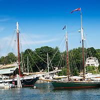 Two masted schooners moored in Camden Harbor Maine