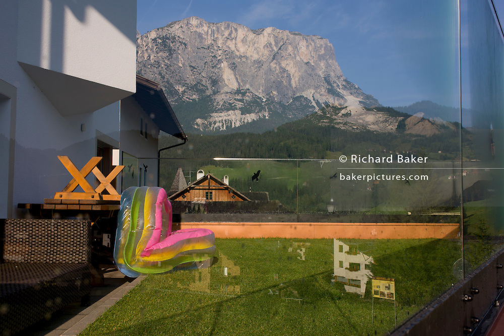 Back garden kindergarten toys in Leonhard-St Leonardo, a Dolomites village in south Tyrol, Italy.