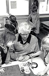 Art class, primary school Nottingham UK 1995
