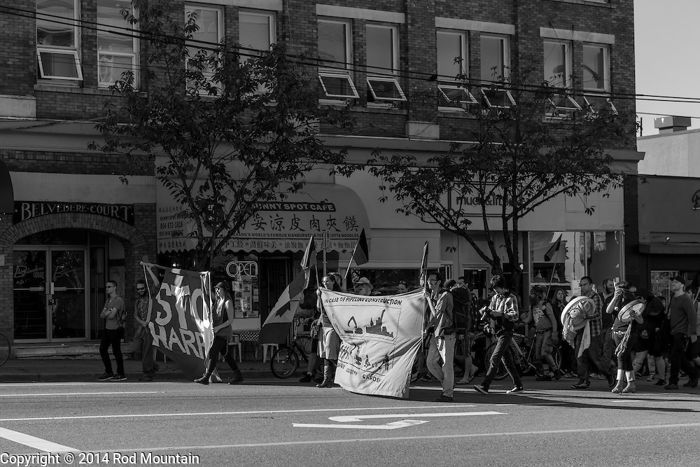 """The march begins along Kingsway for the """"Party Against the Pipelines"""" Protest in Vancouver, B.C. Photo: © Rod Mountain"""