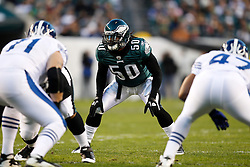 Philadelphia Eagles linebacker Ernie Sims #50 during the NFL Game between the Indianapolis Colts and the Philadelphia Eagles. The Eagles won 26-24 at Lincoln Financial Field in Philadelphia, Pennsylvania on Sunday November 7th 2010. (Photo By Brian Garfinkel)