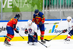 Norbert Rokaly of Romania, Pierre Crinon of France and Eduard Casaneanu of Romania during match at Beat Covid 19 IIH Tournament 2021 between national teams of Romania and France in Hala Tivoli on 15th of May, 2021, Ljubljana, Slovenia . Photo By Morgan Kristan / Sportida