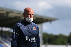 Exeter City goalkeeper coach seen wearing a mask before kick off - Mandatory by-line: Arron Gent/JMP - 18/06/2020 - FOOTBALL - JobServe Community Stadium - Colchester, England - Colchester United v Exeter City - Sky Bet League Two Play-off 1st Leg