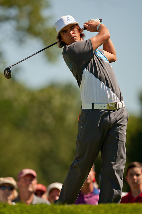 NEWTOWN SQUARE, PA - JULY 1: Rickie Fowler plays a shot during the second round of the 2011 AT&T National at Aronimink Golf Club in Newtown Square, Pennsylvania on July 1, 2011. (Photograph ©2011 Darren Carroll) *** Local Caption *** Rickie Fowler