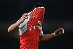 11 March 2017 - The FA Cup - (Sixth Round) - Arsenal v Lincoln City - Alexis Sanchez of Arsenal reacts, pulling his shirt over his head - Photo: Marc Atkins / Offside.