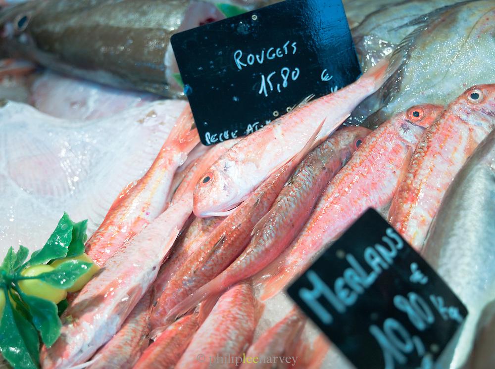 Fresh fish for sale at a market in Saint-Martin-de-Ré, Ile de Ré, France